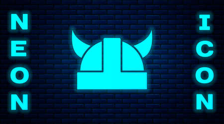 Glowing neon Viking in horned helmet icon isolated on brick wall background. Vector