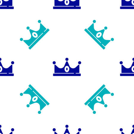 Blue King crown icon isolated seamless pattern on white background. Vector
