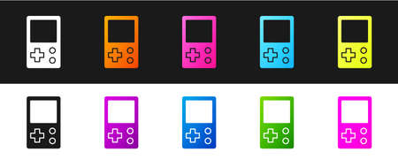 Set Portable tetris electronic game icon isolated on black and white background. Vintage style pocket brick game. Interactive playing device. Vector