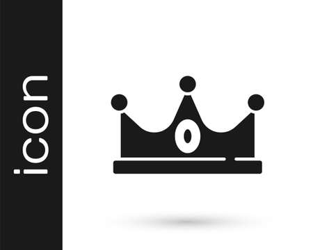 Black King crown icon isolated on white background. Vector