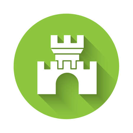 White Castle icon isolated with long shadow. Medieval fortress with a tower. Protection from enemies. Reliability and defense of the city. Green circle button. Vector