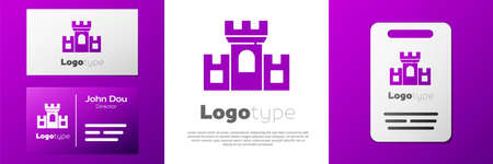 Logotype Castle icon isolated on white background. Medieval fortress with a tower. Protection from enemies. Reliability and defense of the city. Logo design template element. Vector 矢量图像