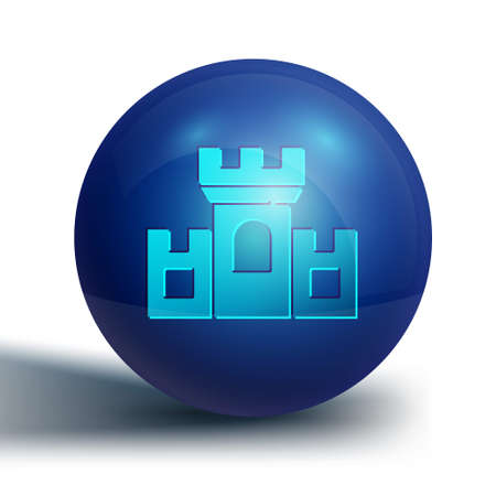 Blue Castle icon isolated on white background. Medieval fortress with a tower. Protection from enemies. Reliability and defense of the city. Blue circle button. Vector 矢量图像