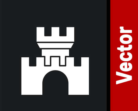 White Castle icon isolated on black background. Medieval fortress with a tower. Protection from enemies. Reliability and defense of the city. Vector