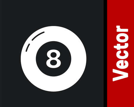 White Billiard pool snooker ball icon isolated on black background. Vector 向量圖像