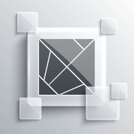 Grey Rubik cube icon isolated on grey background. Mechanical puzzle toy. Rubiks cube 3d combination puzzle. Square glass panels. Vector