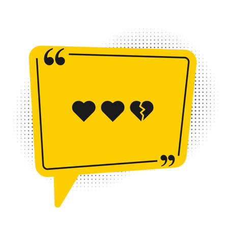 Black Hearts for game icon isolated on white background. Yellow speech bubble symbol. Vector