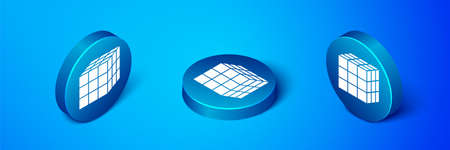 Isometric Rubik cube icon isolated on blue background. Mechanical puzzle toy. Rubiks cube 3d combination puzzle. Blue circle button. Vector