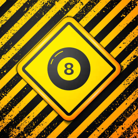 Black Billiard pool snooker ball icon isolated on yellow background. Warning sign. Vector