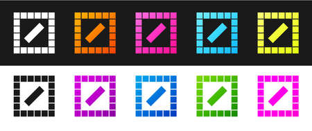 Set Board game icon isolated on black and white background. Vector 向量圖像