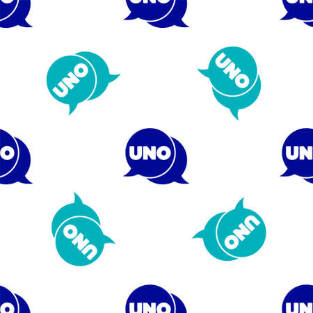 Blue Uno card game icon isolated seamless pattern on white background. Vector