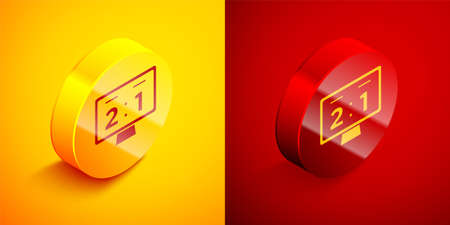 Isometric Sport mechanical scoreboard and result display icon isolated on orange and red background. Circle button. Vector