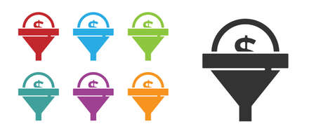 Black Lead management icon isolated on white background. Funnel with money. Target client business concept. Set icons colorful. Vector