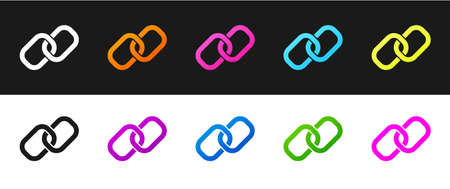 Set Chain link icon isolated on black and white background. Link single. Hyperlink chain symbol. Vector 矢量图像