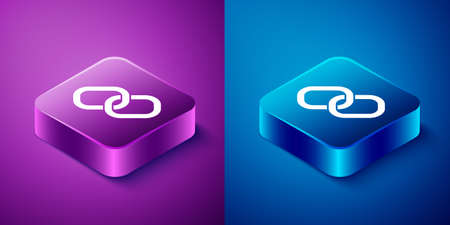 Isometric Chain link icon isolated on blue and purple background. Link single. Hyperlink chain symbol. Square button. Vector