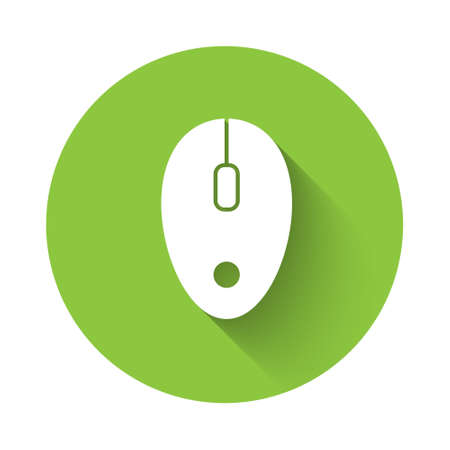 White Computer mouse icon isolated with long shadow. Optical with wheel symbol. Green circle button. Vector Vettoriali
