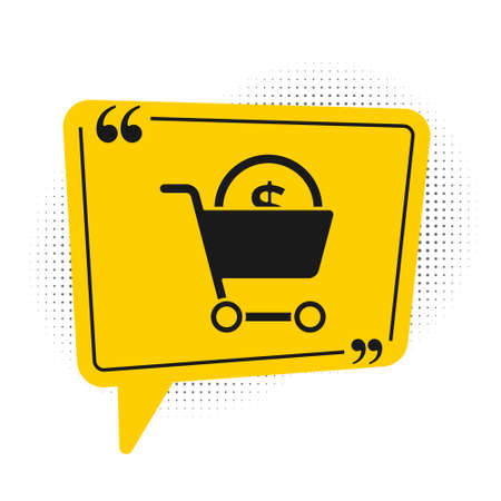 Black Shopping cart and dollar symbol icon isolated on white background. Online buying concept. Delivery service. Supermarket basket. Yellow speech bubble symbol. Vector