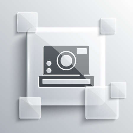 Grey Photo camera icon isolated on grey background. Foto camera icon. Square glass panels. Vector 矢量图像