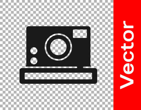 Black Photo camera icon isolated on transparent background. Foto camera icon. Vector