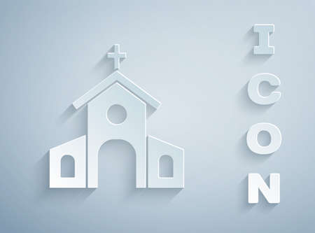 Paper cut Church building icon isolated on grey background. Christian Church. Religion of church. Paper art style. Vector 矢量图像
