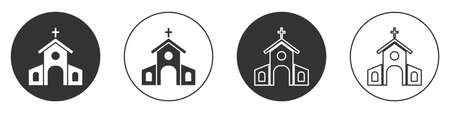 Black Church building icon isolated on white background. Christian Church. Religion of church. Circle button. Vector 矢量图像