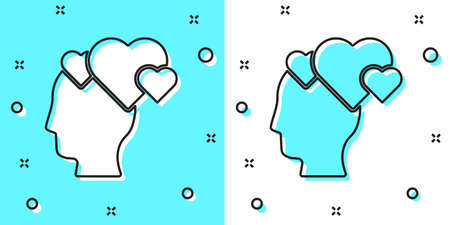 Black line Human head with heart icon isolated on green and white background. Love concept with human head. Random dynamic shapes. Vector 向量圖像