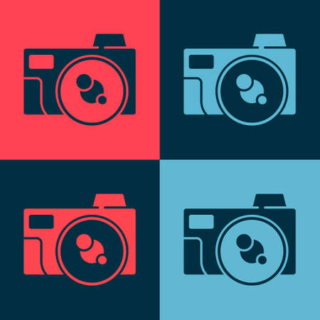 Pop art Photo camera icon isolated on color background. Foto camera icon. Vector