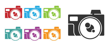 Black Photo camera icon isolated on white background. Foto camera icon. Set icons colorful. Vector 矢量图像