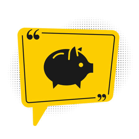 Black Piggy bank icon isolated on white background. Icon saving or accumulation of money, investment. Yellow speech bubble symbol. Vector 向量圖像