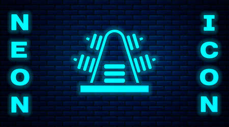 Glowing neon Metal rack with additional weights for barbell icon isolated on brick wall background. Bodybuilding, fitness, sport, healthy lifestyle concept. Vector Illustration