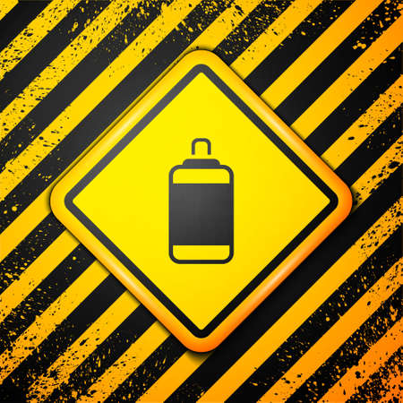 Black Punching bag icon isolated on yellow background. Warning sign. Vector