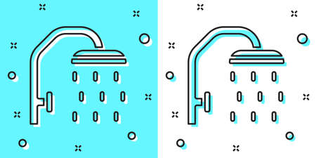 Black line Shower head with water drops flowing icon isolated on green and white background. Random dynamic shapes. Vector