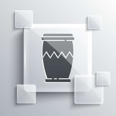 Grey Drum icon isolated on grey background. Music sign. Musical instrument symbol. Square glass panels. Vector