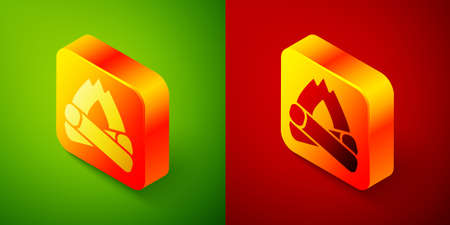 Isometric Campfire icon isolated on green and red background. Burning bonfire with wood. Square button. Vector