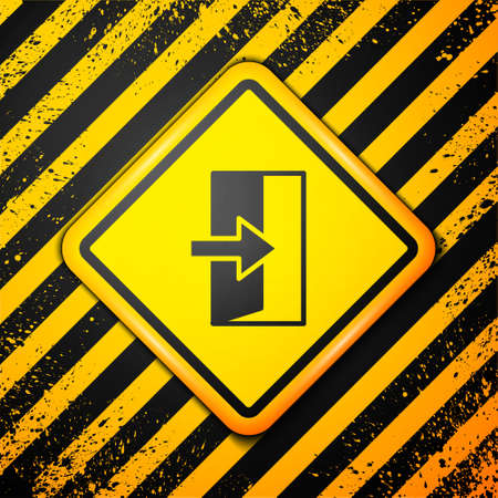 Black Fire exit icon isolated on yellow background. Fire emergency icon. Warning sign. Vector