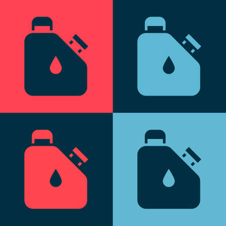 Pop art Canister for flammable liquids icon isolated on color background. Oil or biofuel, explosive chemicals, dangerous substances. Vector