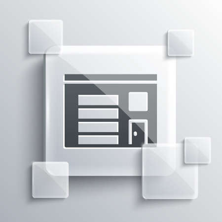Grey Building of fire station icon isolated on grey background. Fire department building. Square glass panels. Vector