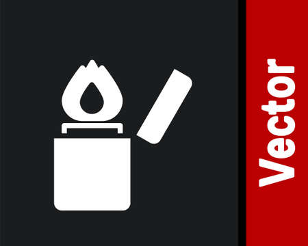 White Lighter icon isolated on black background. Vector 矢量图像