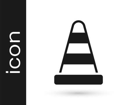 Black Traffic cone icon isolated on white background. Vector