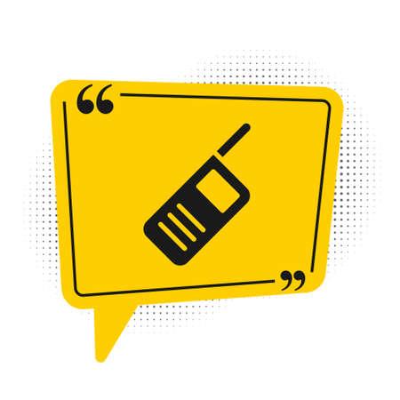 Black Walkie talkie icon isolated on white background. Portable radio transmitter icon. Radio transceiver sign. Yellow speech bubble symbol. Vector
