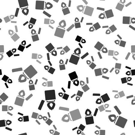 Black Lighter icon isolated seamless pattern on white background. Vector