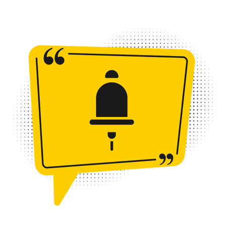 Black Ringing alarm bell icon isolated on white background. Fire alarm system. Service bell, handbell sign, notification symbol. Yellow speech bubble symbol. Vector
