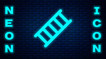 Glowing neon Fire escape icon isolated on brick wall background. Pompier ladder. Fireman scaling ladder with a pole. Vector Vettoriali