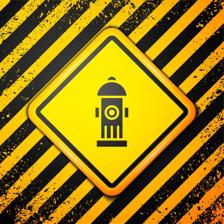 Black Fire hydrant icon isolated on yellow background. Warning sign. Vector