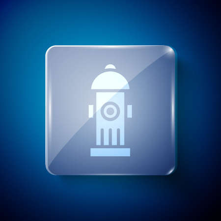 White Fire hydrant icon isolated on blue background. Square glass panels. Vector