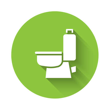 White Toilet bowl icon isolated with long shadow. Green circle button. Vector 向量圖像