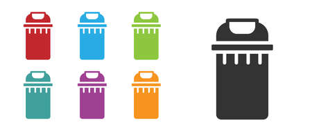 Black Trash can icon isolated on white background. Garbage bin sign. Recycle basket icon. Office trash icon. Set icons colorful. Vector Vettoriali