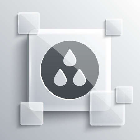 Grey Water drop icon isolated on grey background. Square glass panels. Vector