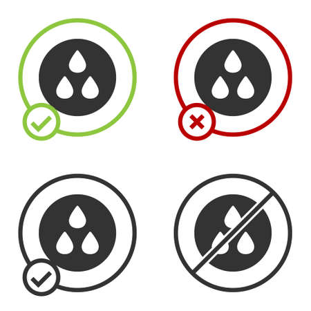 Black Water drop icon isolated on white background. Circle button. Vector Vettoriali