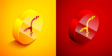 Isometric Industry metallic pipe icon isolated on orange and red background. Plumbing pipeline parts of different shapes. Circle button. Vector Ilustração